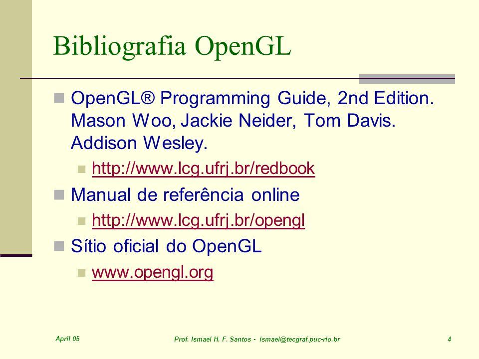 Bibliografia OpenGLOpenGL® Programming Guide, 2nd Edition. Mason Woo, Jackie Neider, Tom Davis. Addison Wesley.