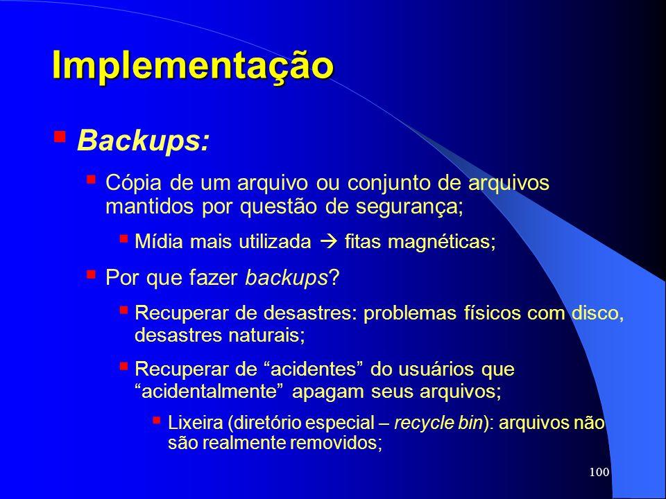 Implementação Backups: