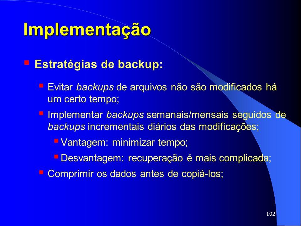 Implementação Estratégias de backup: