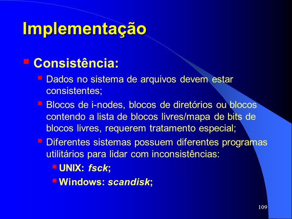 Implementação Consistência: