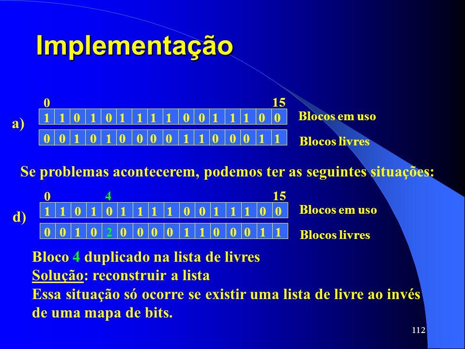 Implementação a) 1. Blocos em uso. Blocos livres. 15. Se problemas acontecerem, podemos ter as seguintes situações: