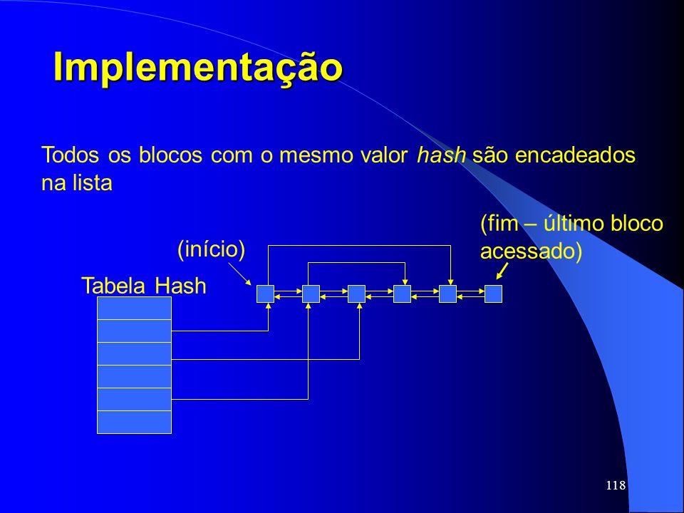 Implementação Todos os blocos com o mesmo valor hash são encadeados na lista. (fim – último bloco.