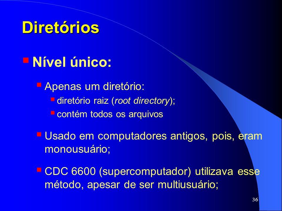 Diretórios Nível único: Apenas um diretório: