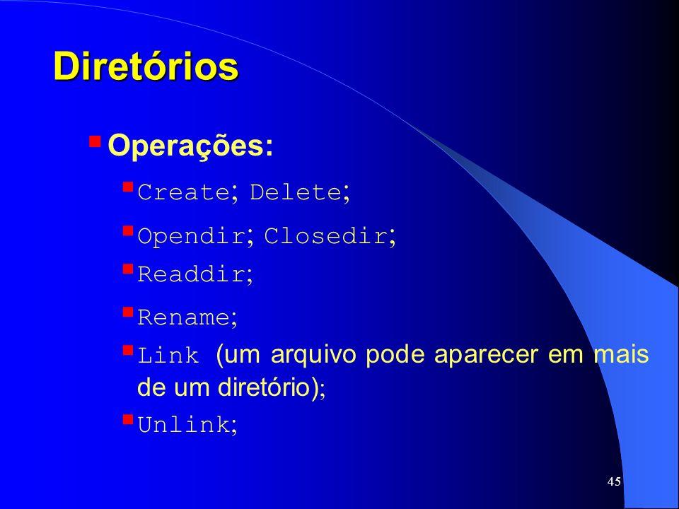 Diretórios Operações: Create; Delete; Opendir; Closedir; Readdir;