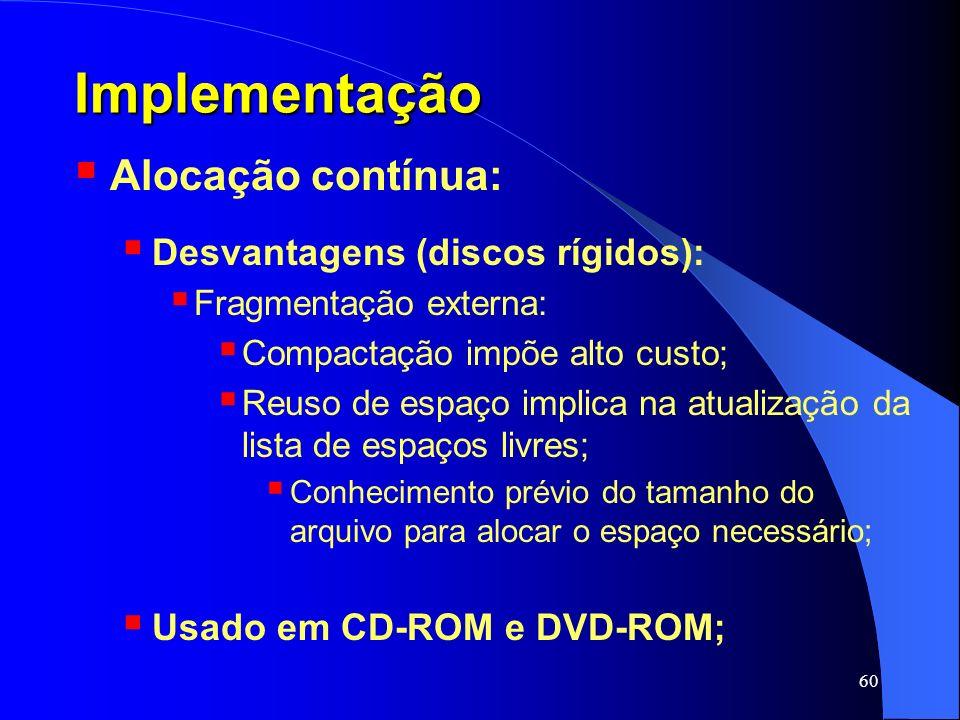 Implementação Alocação contínua: Desvantagens (discos rígidos):