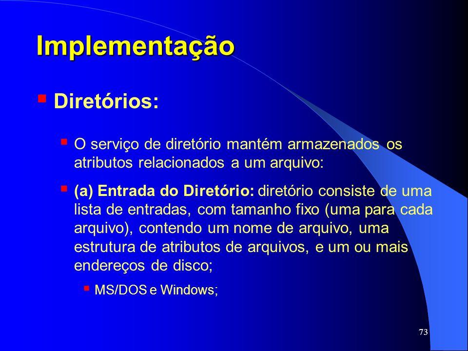 Implementação Diretórios: