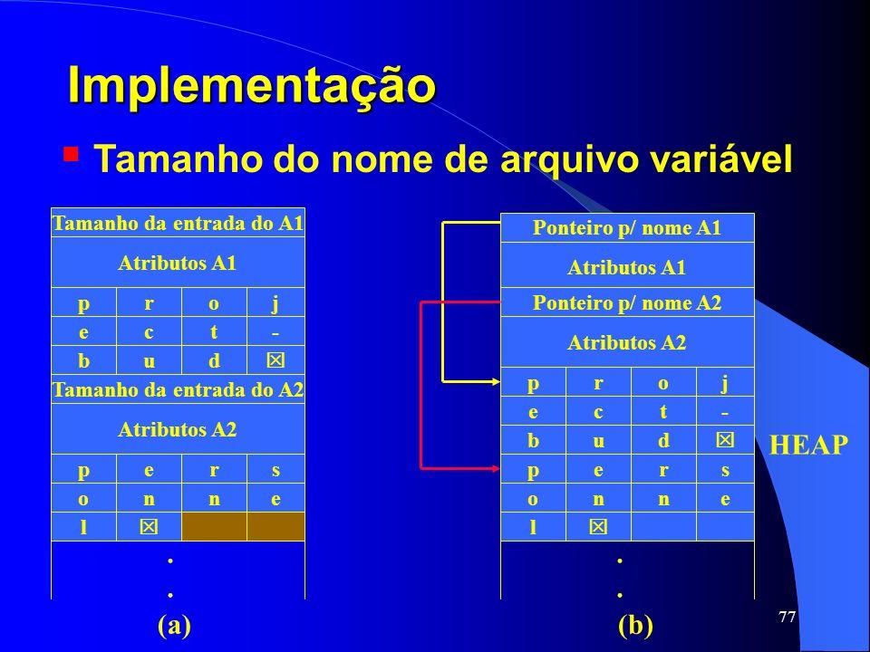 Implementação Tamanho do nome de arquivo variável . . HEAP (a) (b)