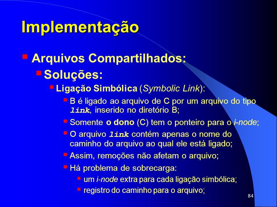 Implementação Arquivos Compartilhados: Soluções: