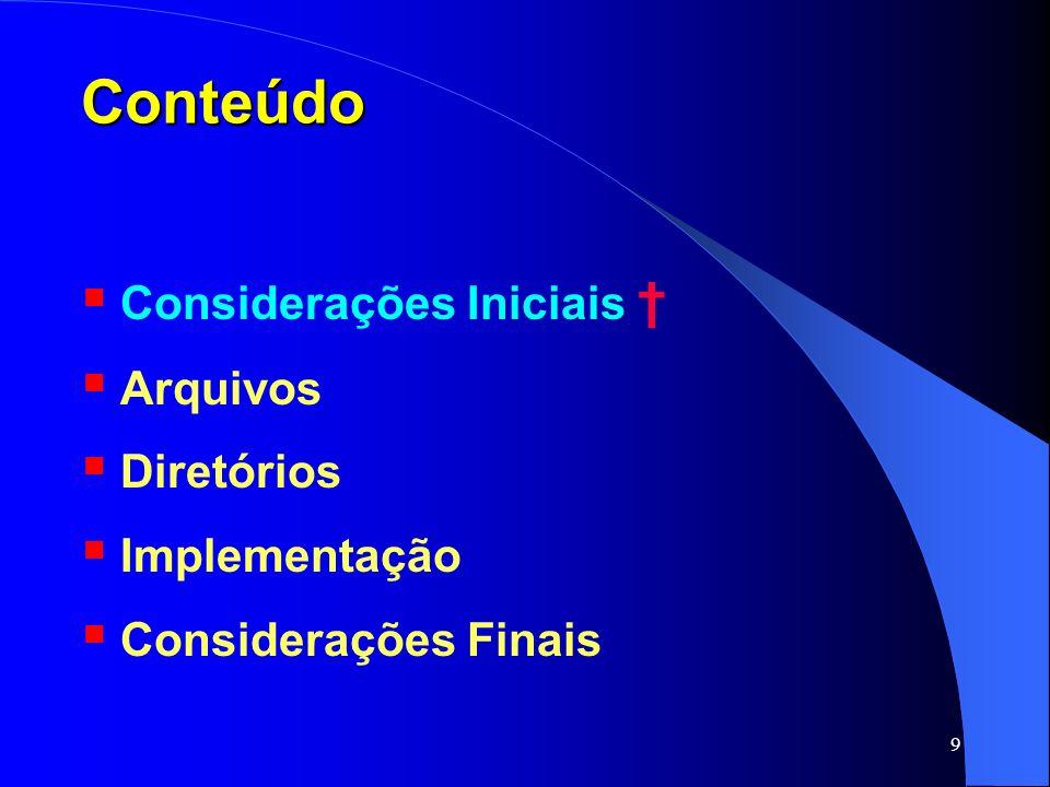 Conteúdo Considerações Iniciais † Arquivos Diretórios Implementação