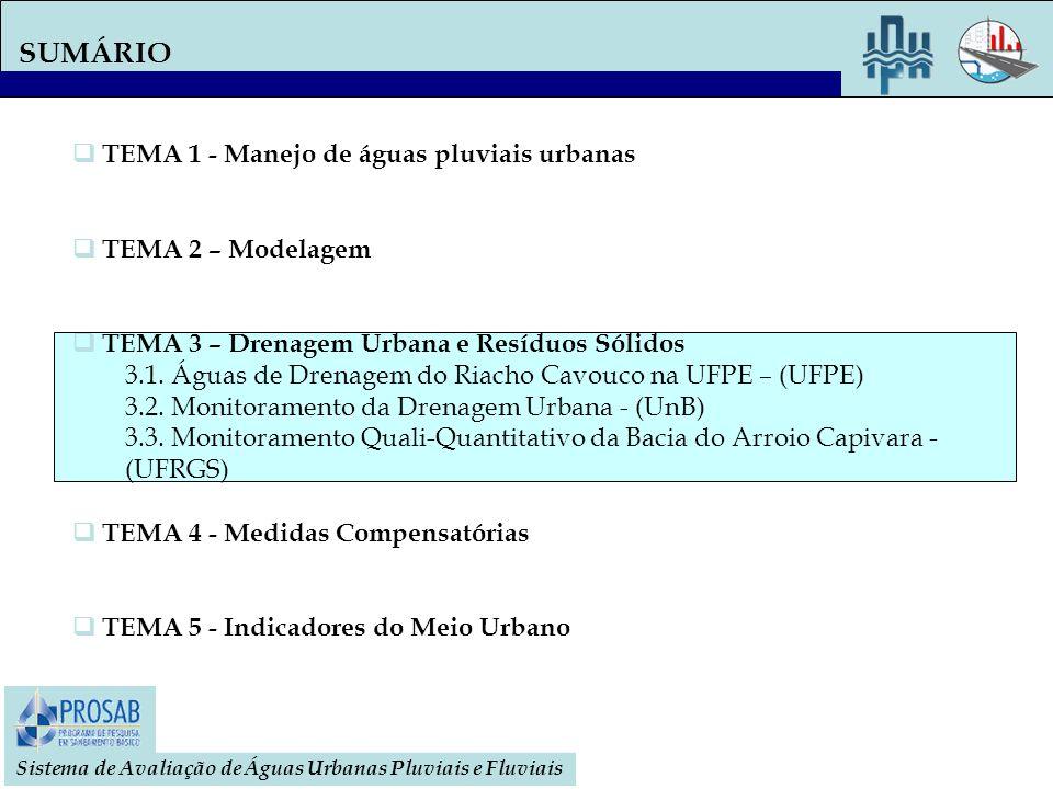 SUMÁRIO TEMA 1 - Manejo de águas pluviais urbanas TEMA 2 – Modelagem