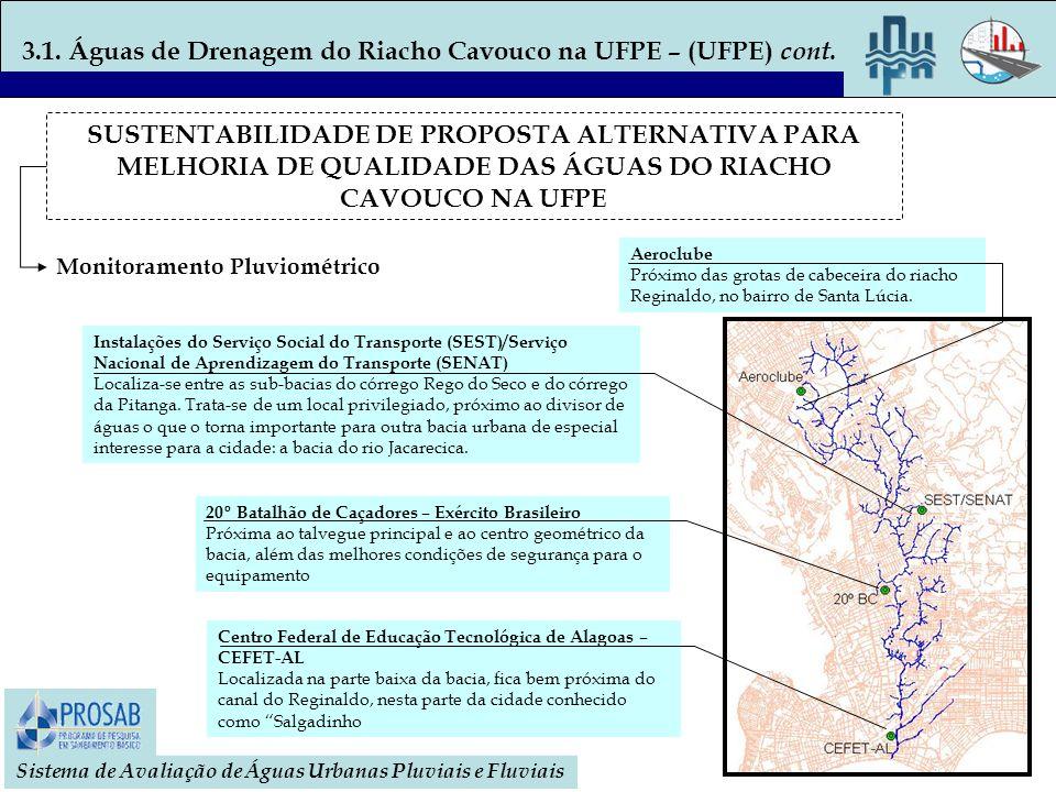 3.1. Águas de Drenagem do Riacho Cavouco na UFPE – (UFPE) cont.