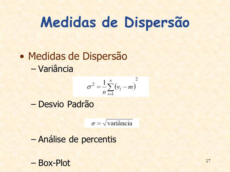 Medidas de Dispersão Medidas de Dispersão Variância Desvio Padrão