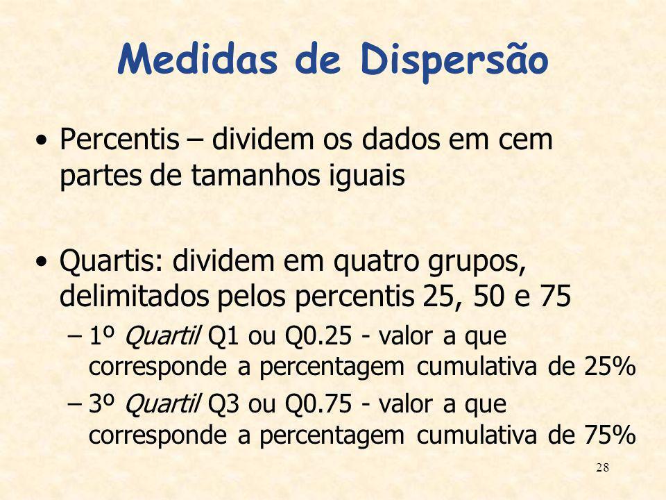 Medidas de Dispersão Percentis – dividem os dados em cem partes de tamanhos iguais.