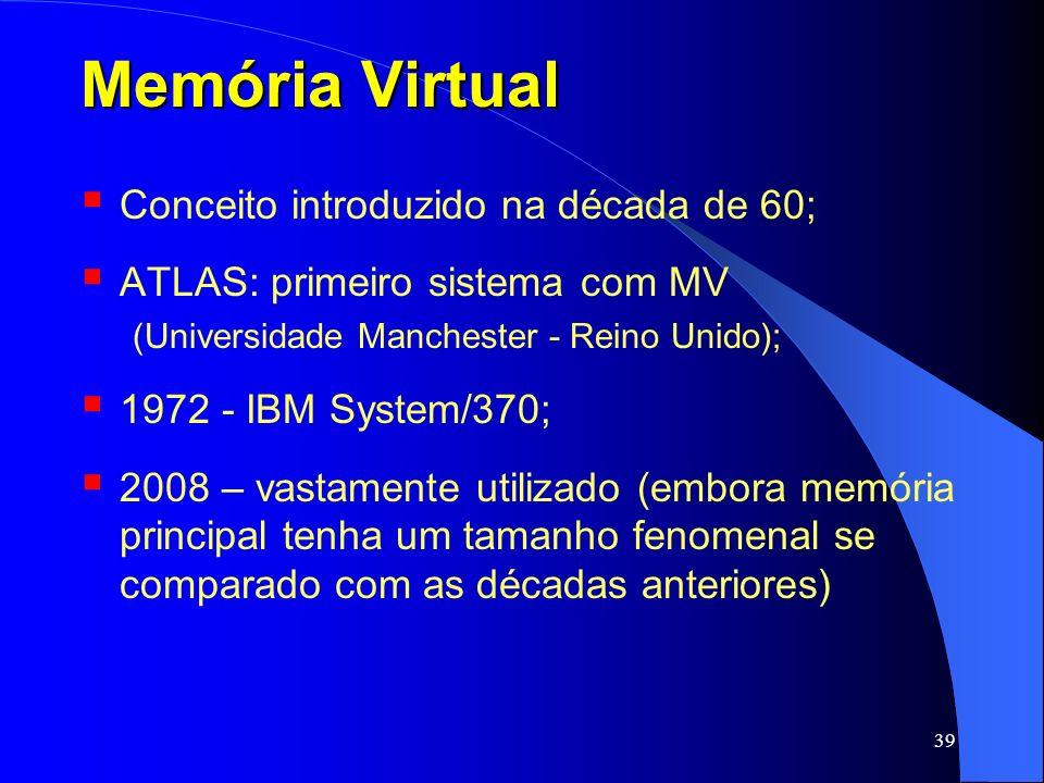 Memória Virtual Conceito introduzido na década de 60;