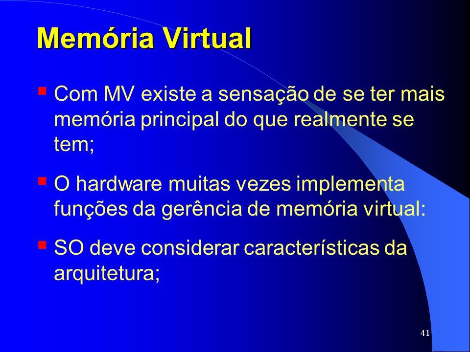 Memória Virtual Com MV existe a sensação de se ter mais memória principal do que realmente se tem;