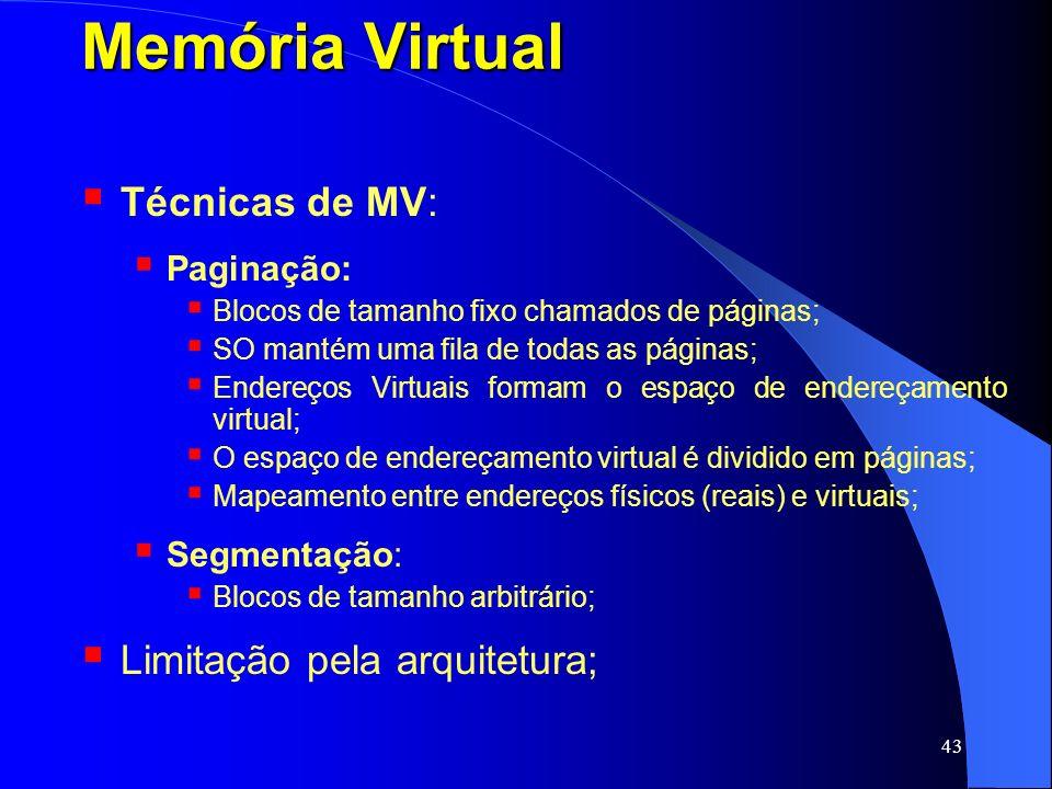 Memória Virtual Técnicas de MV: Limitação pela arquitetura; Paginação: