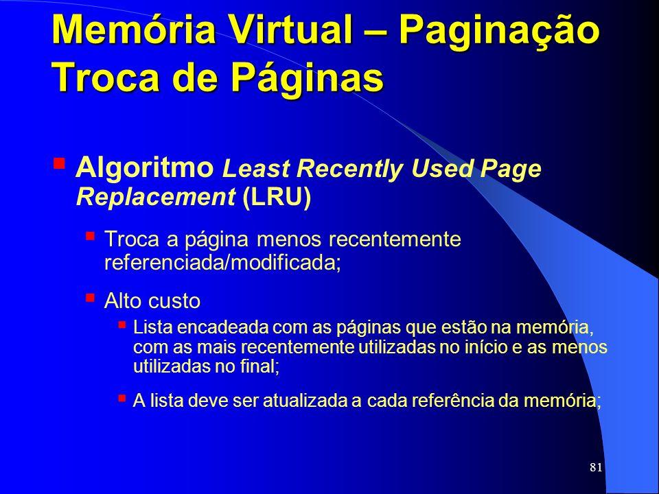 Memória Virtual – Paginação Troca de Páginas