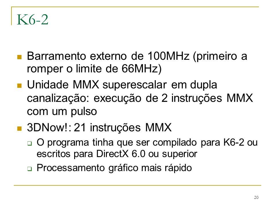 K6-2 Barramento externo de 100MHz (primeiro a romper o limite de 66MHz)