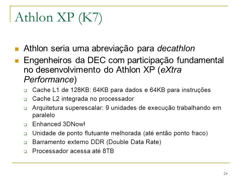 Athlon XP (K7) Athlon seria uma abreviação para decathlon
