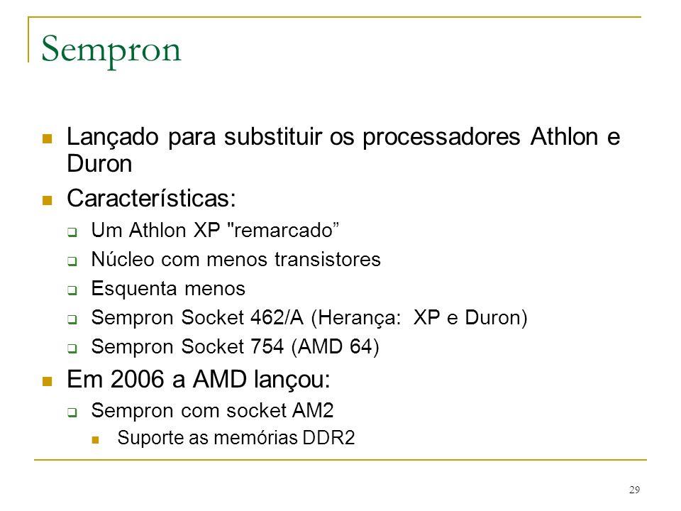 Sempron Lançado para substituir os processadores Athlon e Duron