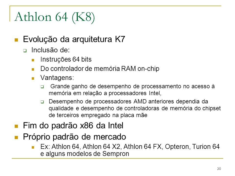 Athlon 64 (K8) Evolução da arquitetura K7 Fim do padrão x86 da Intel