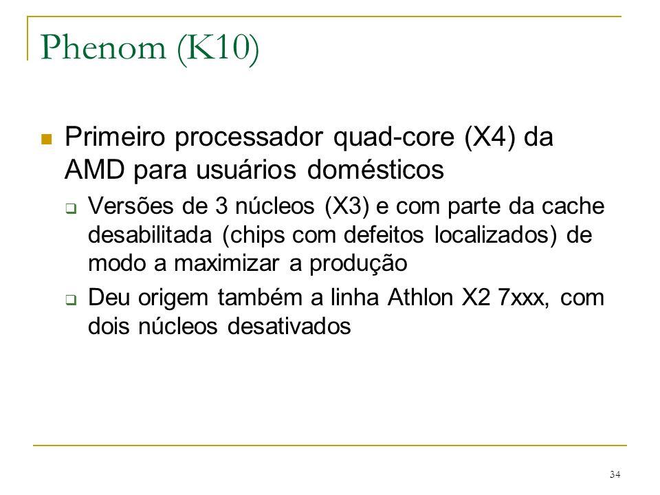 Phenom (K10) Primeiro processador quad-core (X4) da AMD para usuários domésticos.
