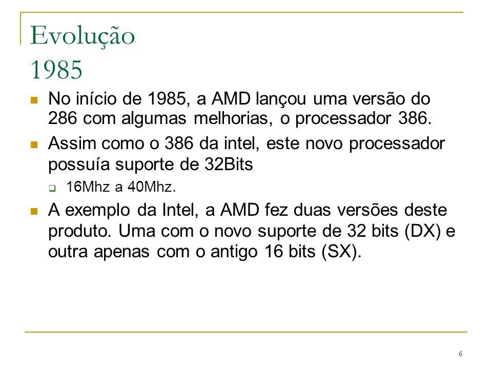 Evolução 1985 No início de 1985, a AMD lançou uma versão do 286 com algumas melhorias, o processador 386.