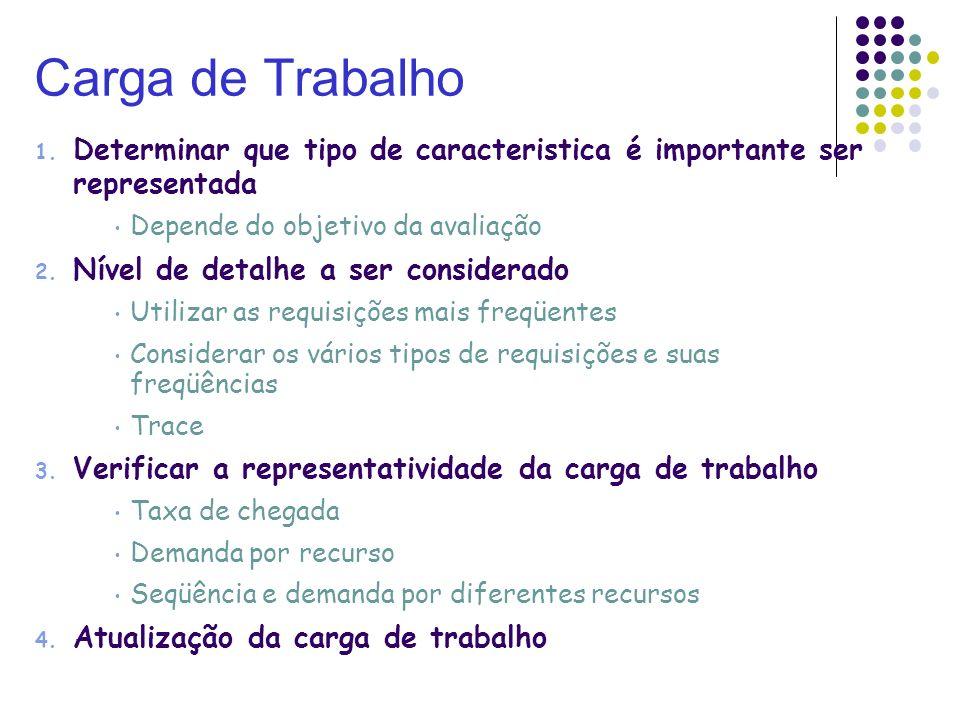 Carga de TrabalhoDeterminar que tipo de caracteristica é importante ser representada. Depende do objetivo da avaliação.