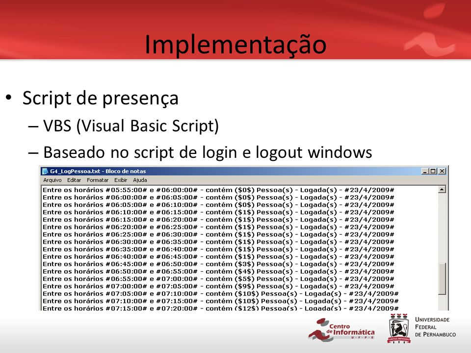 Implementação Script de presença VBS (Visual Basic Script)