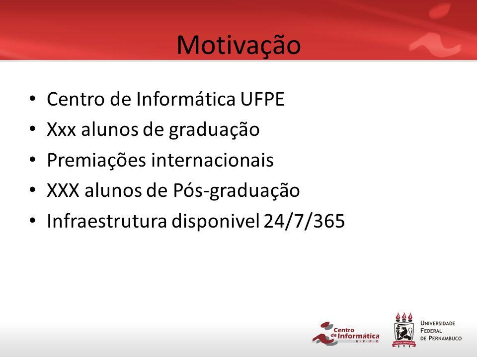 Motivação Centro de Informática UFPE Xxx alunos de graduação