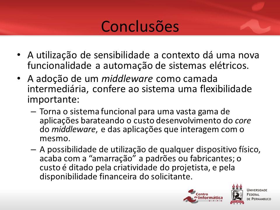 Conclusões A utilização de sensibilidade a contexto dá uma nova funcionalidade a automação de sistemas elétricos.