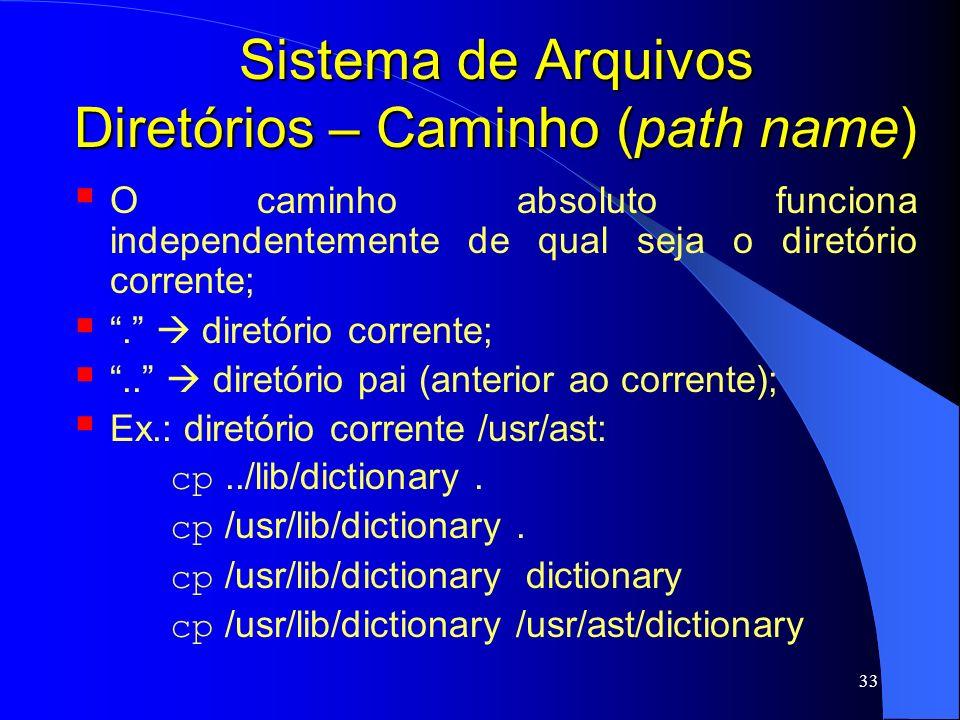 Sistema de Arquivos Diretórios – Caminho (path name)