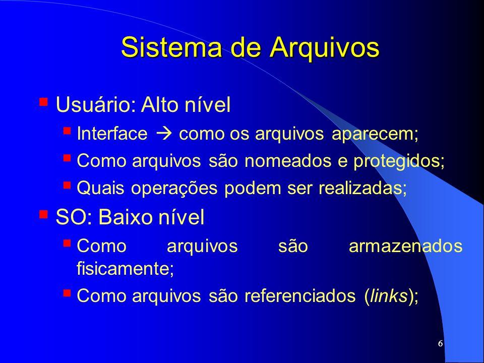 Sistema de Arquivos Usuário: Alto nível SO: Baixo nível