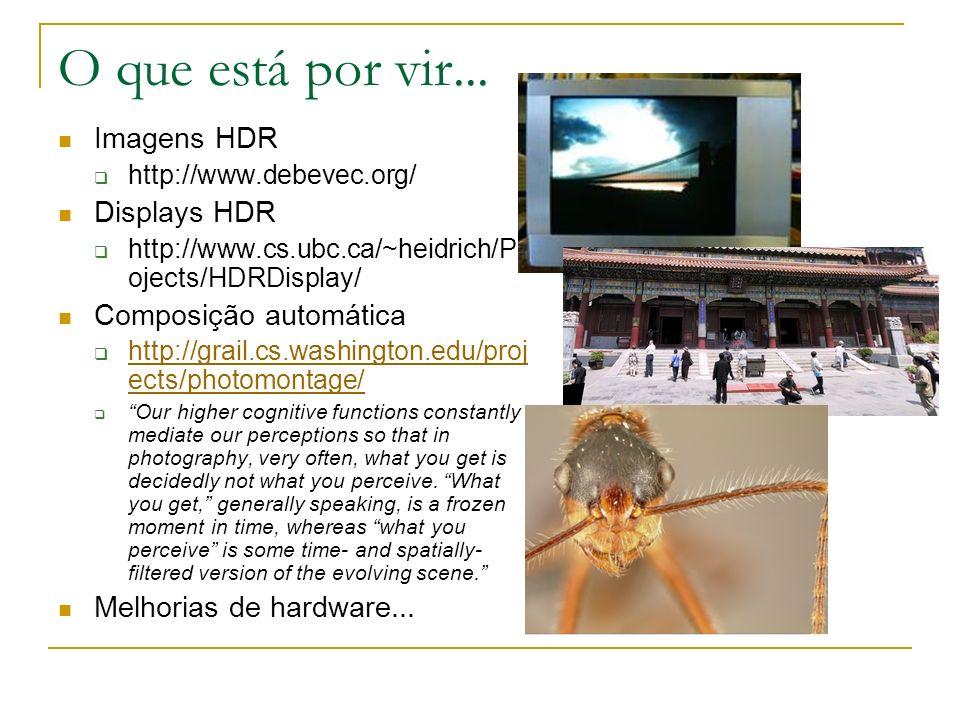 O que está por vir... Imagens HDR Displays HDR Composição automática