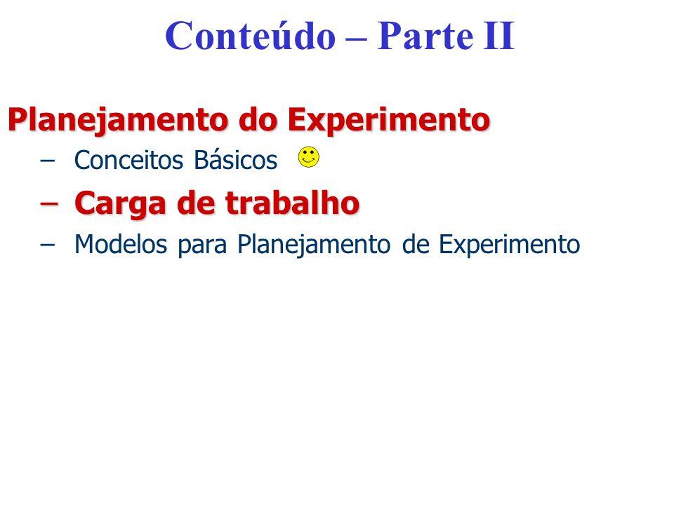 Conteúdo – Parte II Planejamento do Experimento Carga de trabalho