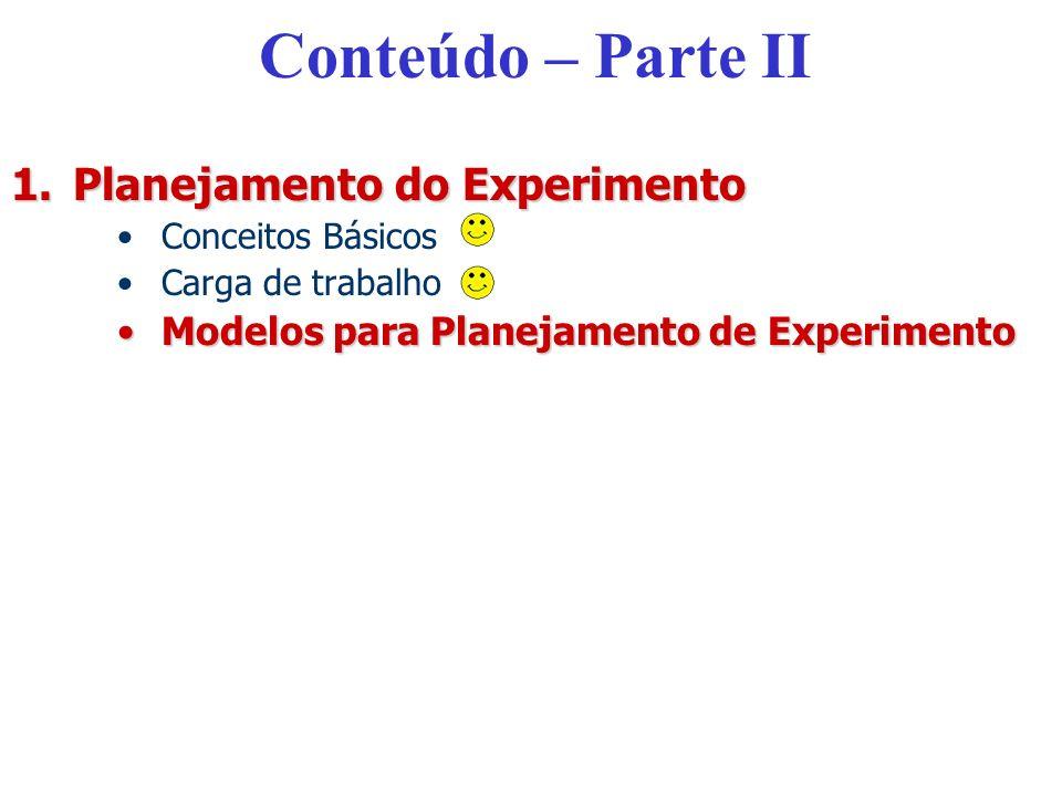 Conteúdo – Parte II Planejamento do Experimento