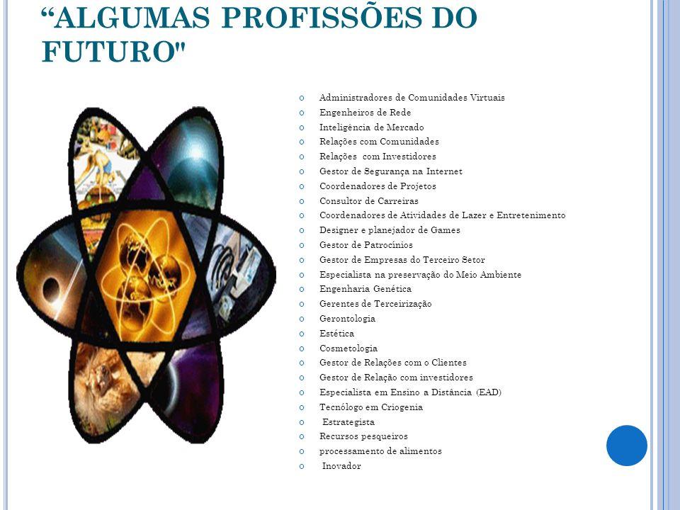 ALGUMAS PROFISSÕES DO FUTURO