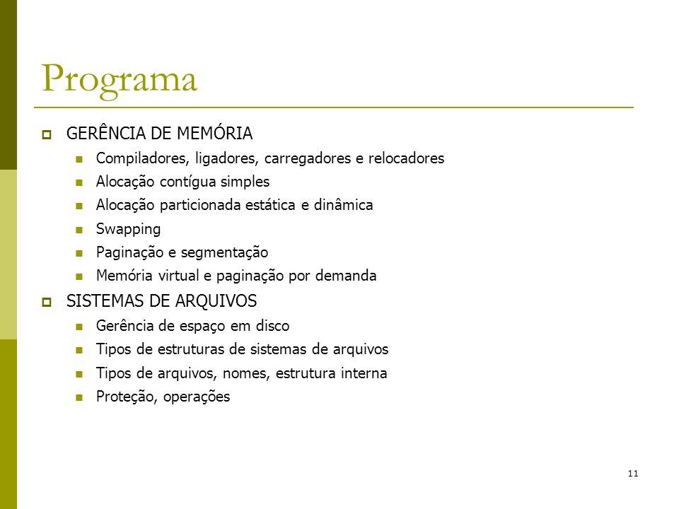 Programa GERÊNCIA DE MEMÓRIA SISTEMAS DE ARQUIVOS
