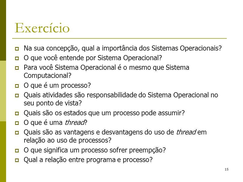 Exercício Na sua concepção, qual a importância dos Sistemas Operacionais O que você entende por Sistema Operacional
