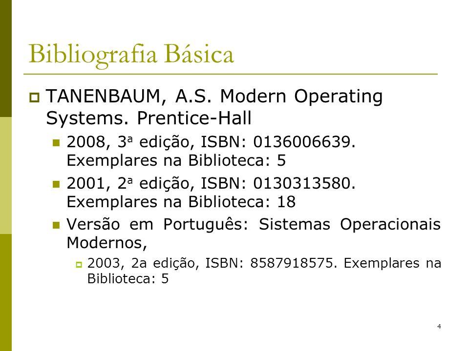 Bibliografia BásicaTANENBAUM, A.S. Modern Operating Systems. Prentice-Hall. 2008, 3a edição, ISBN: 0136006639. Exemplares na Biblioteca: 5.