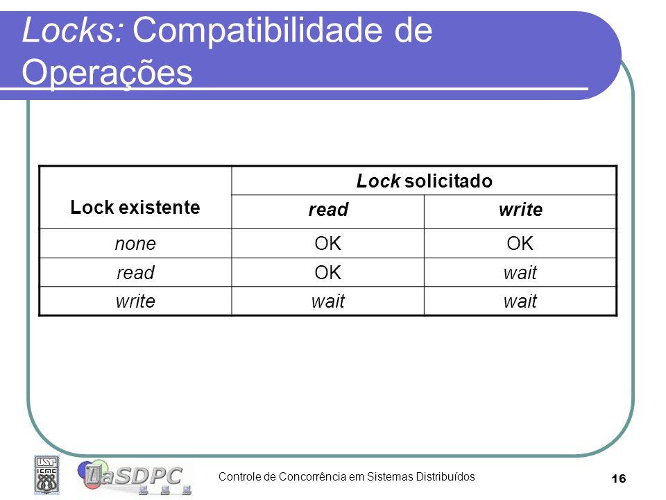 Locks: Compatibilidade de Operações