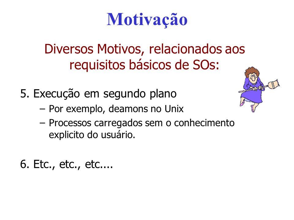 Diversos Motivos, relacionados aos requisitos básicos de SOs: