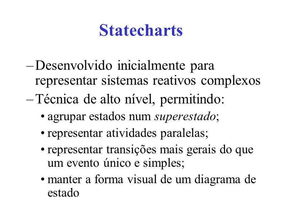 Statecharts Desenvolvido inicialmente para representar sistemas reativos complexos. Técnica de alto nível, permitindo: