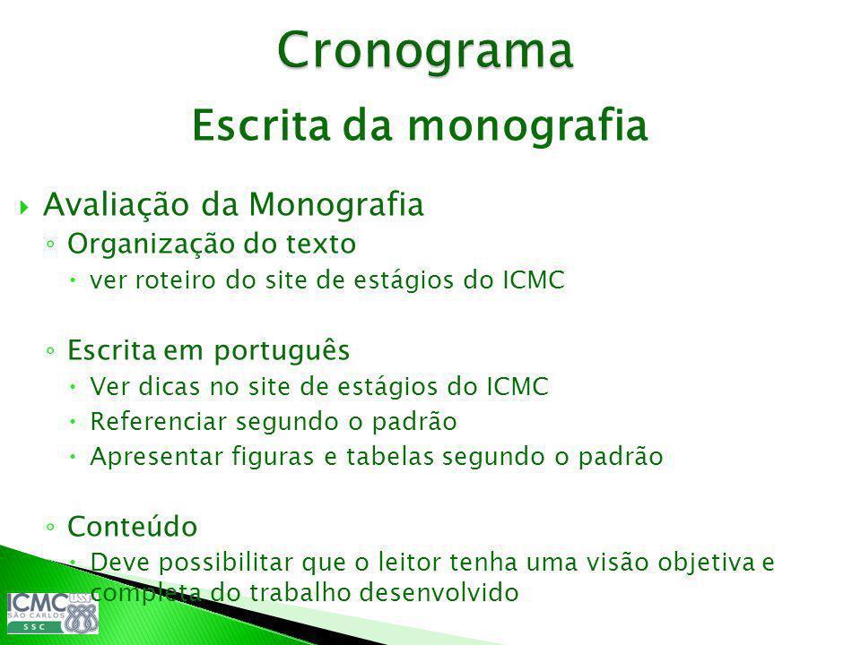 Cronograma Escrita da monografia Avaliação da Monografia