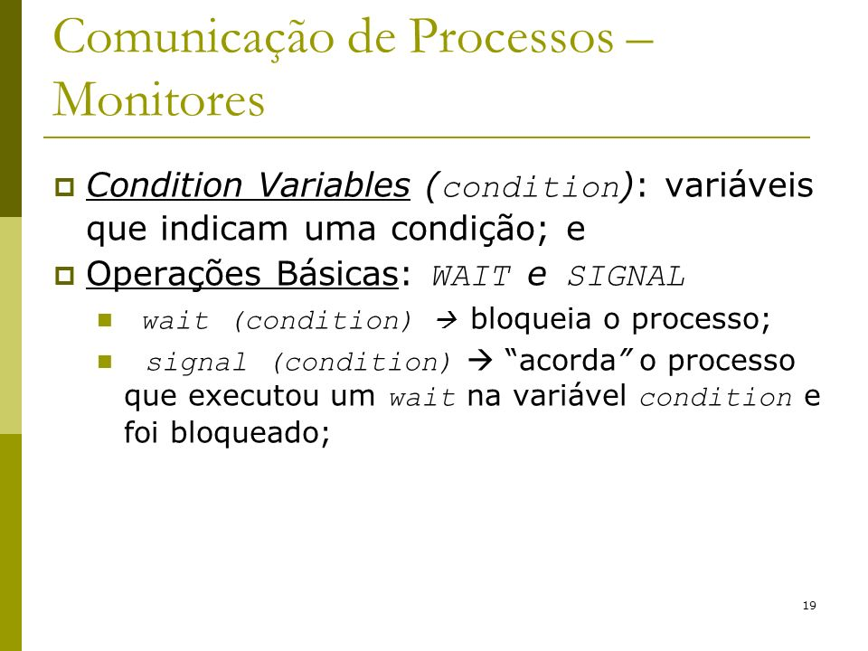 Comunicação de Processos – Monitores