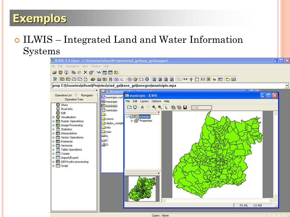Exemplos ILWIS – Integrated Land and Water Information Systems