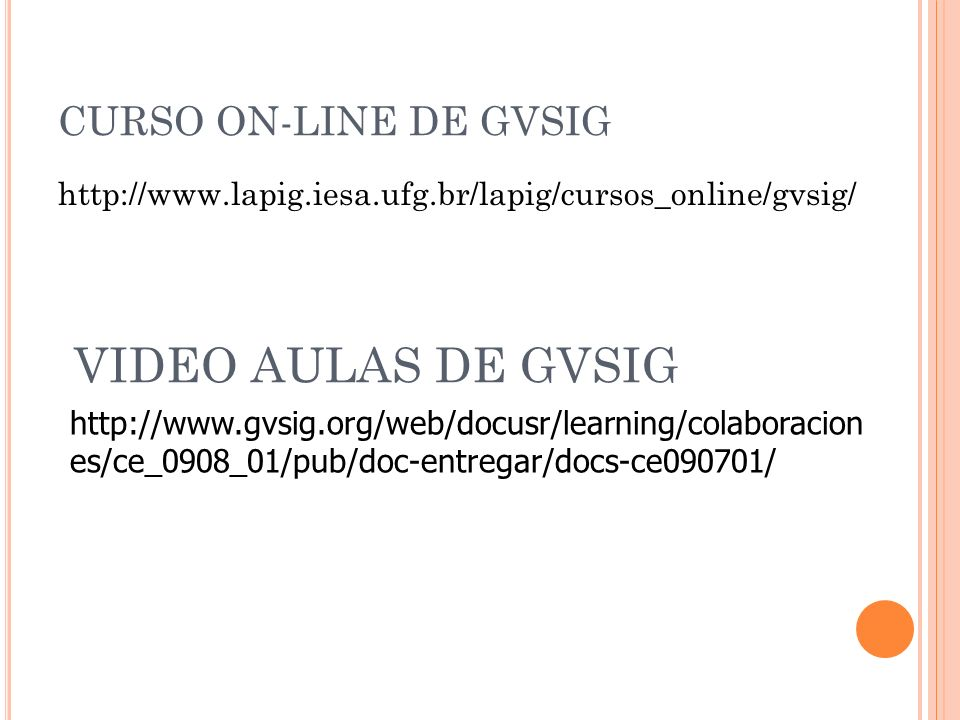 VIDEO AULAS DE GVSIG CURSO ON-LINE DE GVSIG