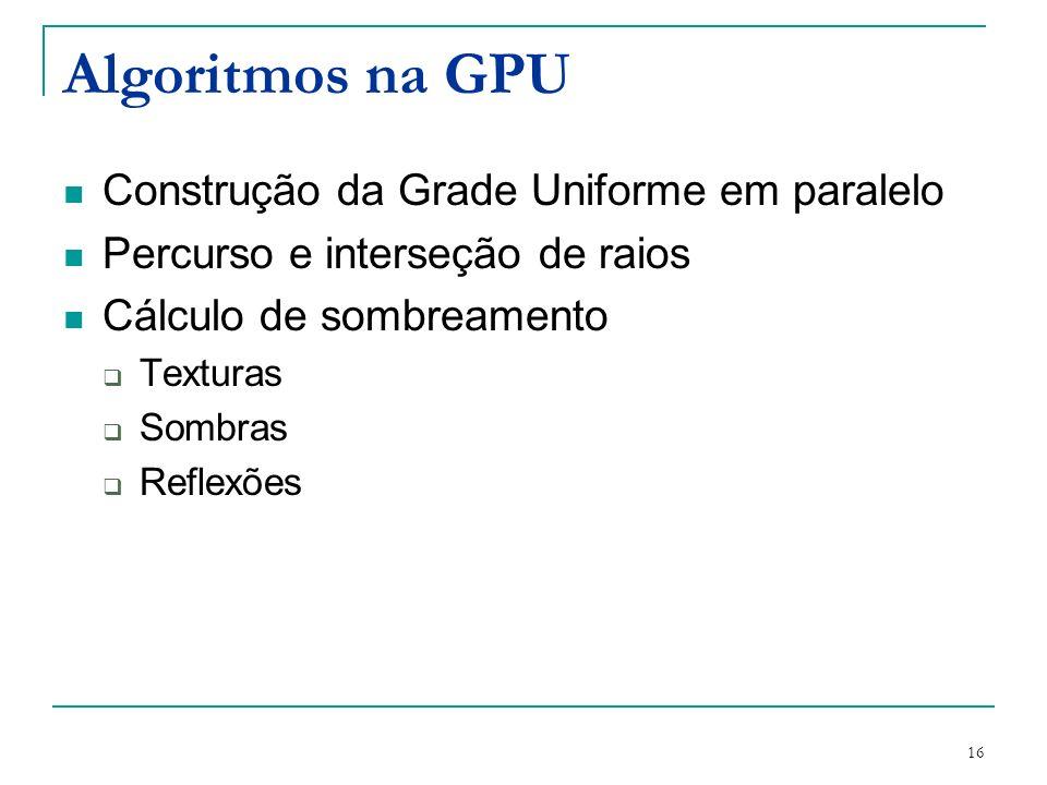 Algoritmos na GPU Construção da Grade Uniforme em paralelo