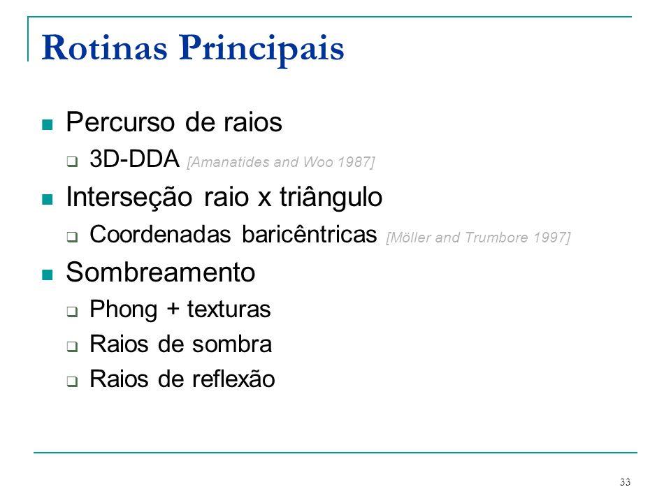Rotinas Principais Percurso de raios Interseção raio x triângulo