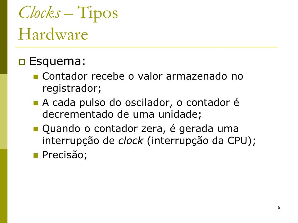 Clocks – Tipos Hardware